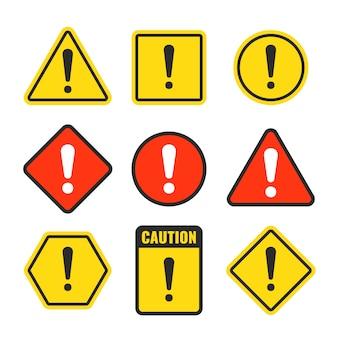 Signo de exclamación cuidado con los iconos