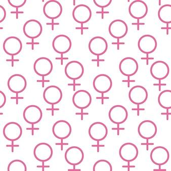 Signo femenino rosa círculo con una cruz hacia abajo perteneciente al género femenino