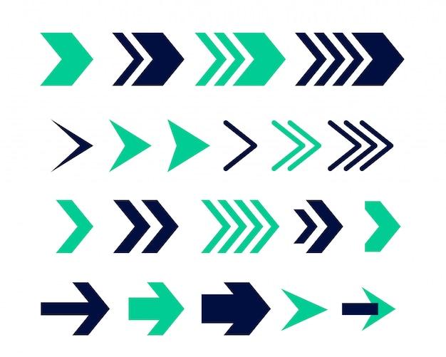 Signo de flecha direccional o diseño de conjunto de iconos