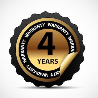 Signo de garantía de oro, etiqueta de garantía de 4 años