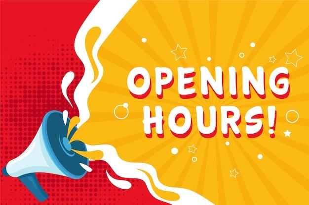 Signo de horario de apertura nuevo creativo