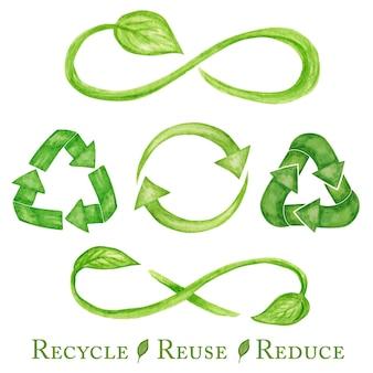 Signo de icono verde libre de plástico conjunto de letras dibujadas a mano de acuarela.