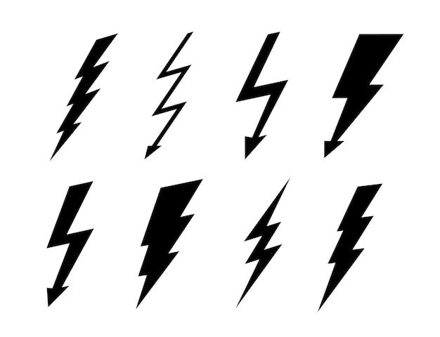 Signo de iconos de conjunto de rayo