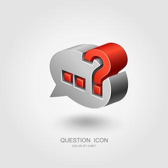 Signo de interrogación en el bocadillo de diálogo, concepto de interrogación