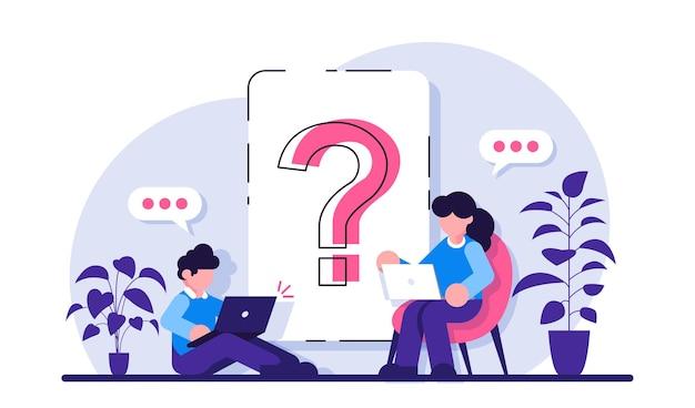 Signo de interrogación en el documento mujer y hombre de negocios haciendo preguntas alrededor de un enorme signo de interrogación