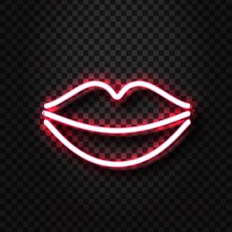 Signo de labios eróticos de neón realista para decoración y revestimiento en el fondo transparente. concepto de show erótico y discoteca.