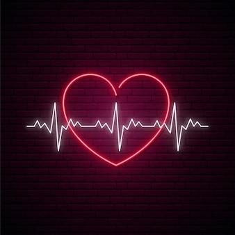 Signo de latido del corazón de neón.