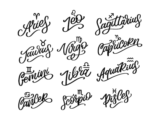 Signo de letras del zodiaco. ilustración de texto de astrología de dibujos animados. horóscopo conjunto de iconos escritos a mano.