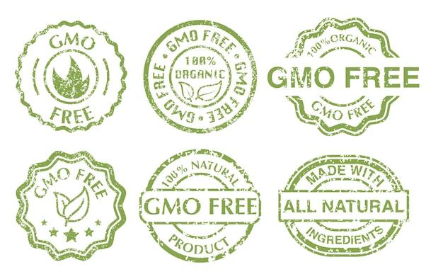 Signo libre de gmo. grunge goma verde gmo libre sellos conjunto