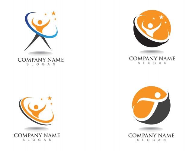 Signo de logotipo de carácter humano, logotipo de cuidado de la salud. signo de logotipo de la naturaleza. signo de logotipo de personas de éxito