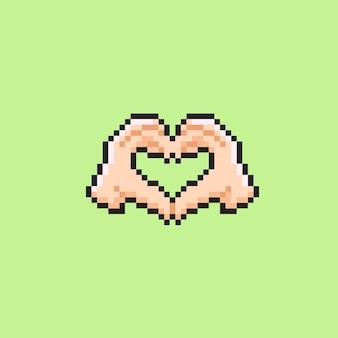 Signo de mano de amor con estilo pixel art