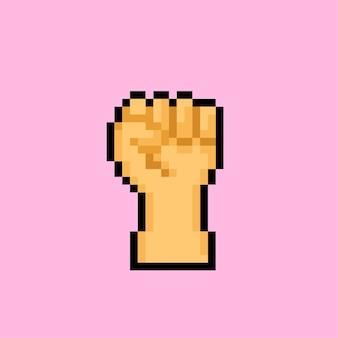 Signo de mano de puño con estilo pixel art