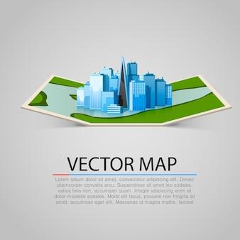 Signo de mapa de papel con ciudad moderna