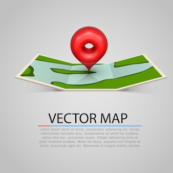 Signo de mapa de papel con marca roja