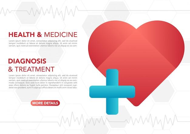 Signo médico de primeros auxilios en corazón rojo con fondo blanco.