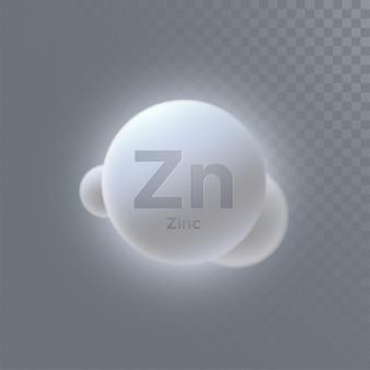Signo mineral de zinc aislado sobre fondo transparente