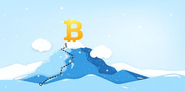Signo de moneda digital bitcoin en la cima de la montaña