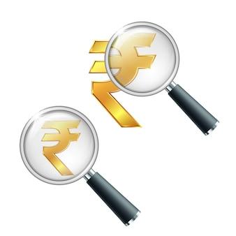 Signo de moneda de oro rupia india con lupa. busque o verifique la estabilidad financiera. ilustración aislada sobre fondo blanco