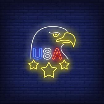 Signo de neón de águila de estados unidos