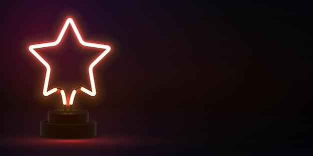 Signo de neón aislado realista de estrella