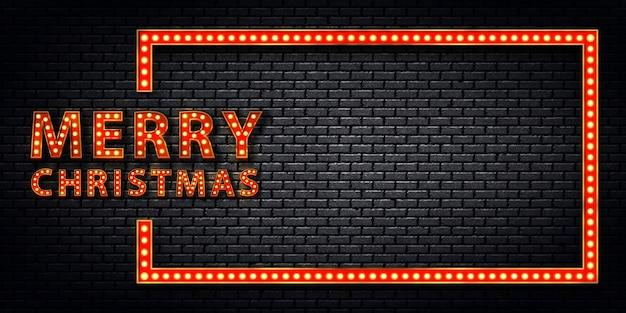 Signo de neón aislado realista de marquesina de marco de feliz navidad para decoración de invitación en la pared