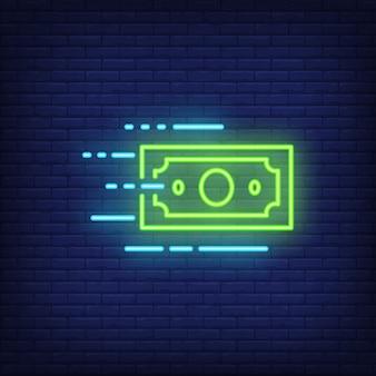 Signo de neón de billete de dólar móvil