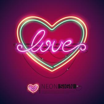 Signo de neón colorido corazón de amor