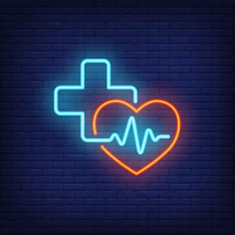 Signo de neón de corazón, cruz y cardiograma.