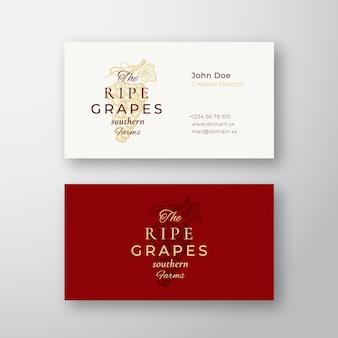 Signo o logotipo elegante abstracto de granja de uvas maduras
