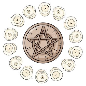 Signo oculto del pentáculo en un círculo de velas blancas