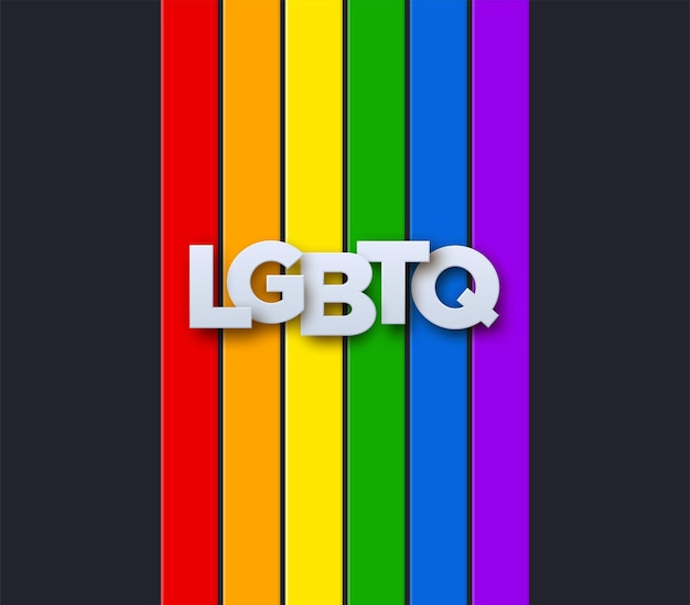 Signo de papel lgbtq en la bandera del arco iris