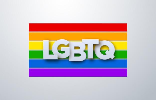 Signo de papel lgbtq en el fondo de la bandera del arco iris. ilustración. derechos humanos o concepto de diversidad. diseño de banner de eventos lgbt.