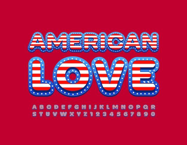 Signo patriótico american love usa flag font bright creative