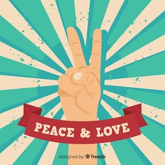 Signo paz manos rayos de sol
