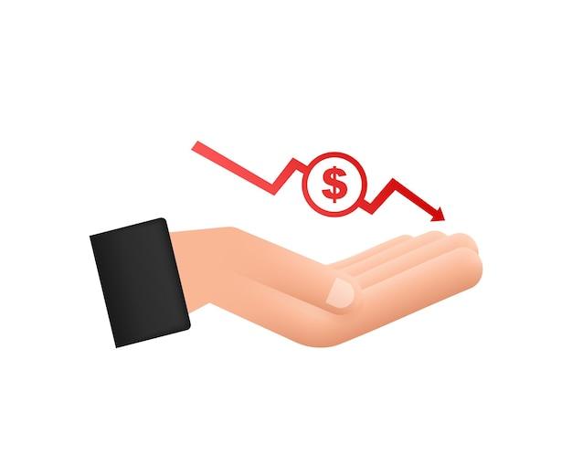 Signo de pérdida de dinero en las manos efectivo con flecha hacia abajo concepto gráfico de acciones de crisis financiera