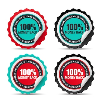 Signo de plantilla de etiqueta de devolución de dinero 100.
