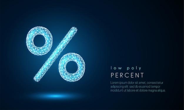 Signo de porcentaje abstracto. diseño de estilo de baja poli.