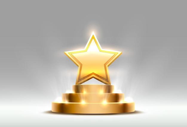 Signo de premio estrella mejor podio, objeto dorado