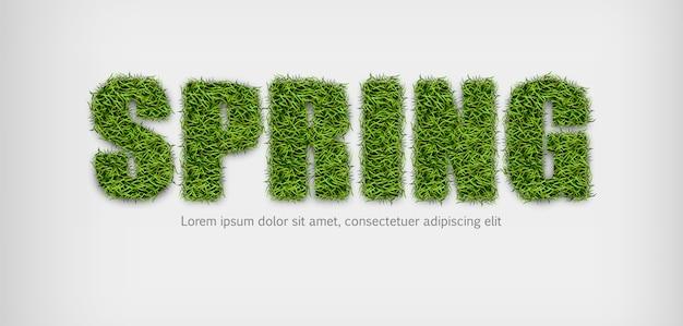 Signo de primavera en la hierba verde
