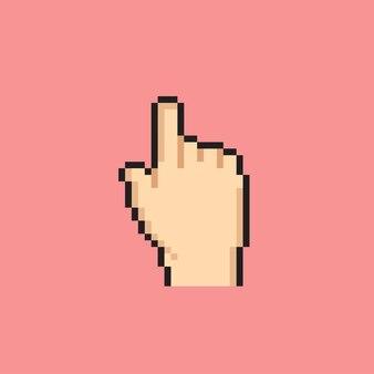 Signo de puntero de mano con estilo pixel art
