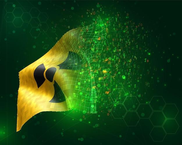 Signo de radiación en una bandera 3d vector amarillo sobre fondo verde con polígonos y números de datos