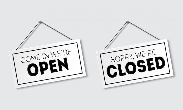 Signo realista con sombra. lo siento, ya está cerrado. entra, estamos abiertos. letrero con una cuerda.