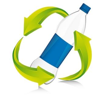 Signo de reciclaje con ilustración de vector de plástico de botella