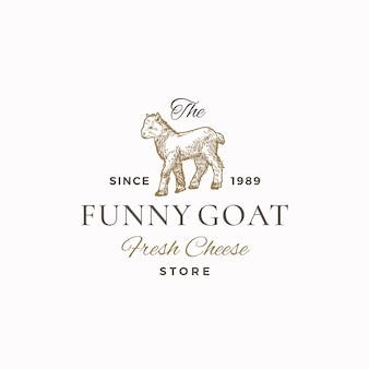 El signo, símbolo o logotipo abstracto divertido de la cabra