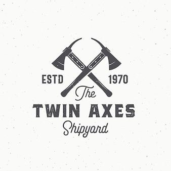 Signo, símbolo o logotipo abstracto de ejes gemelos