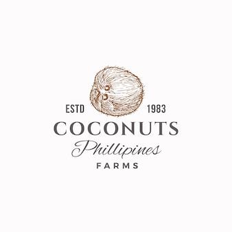Signo, símbolo o logotipo de las granjas de cocos. coco de boceto dibujado a mano con tipografía retro. emblema de lujo vintage.