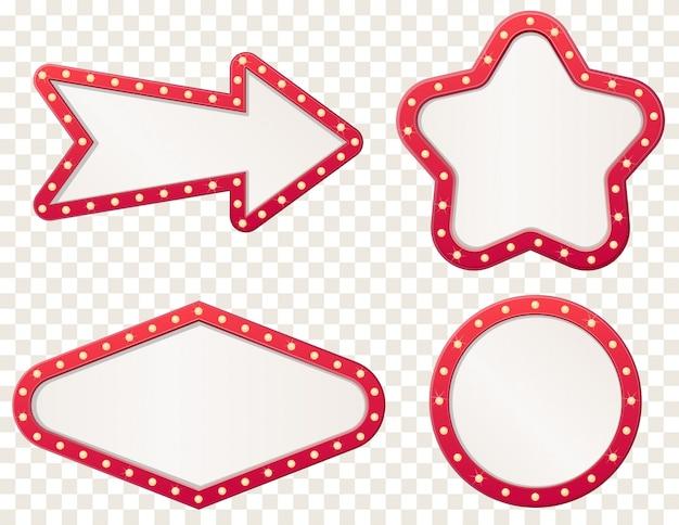 Signo de tablero de luz de marquesina de flecha. flechas marco retro con lámparas de bulbo.