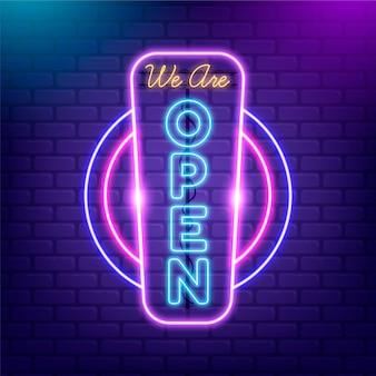 Signo de tienda abierta en luces de neón