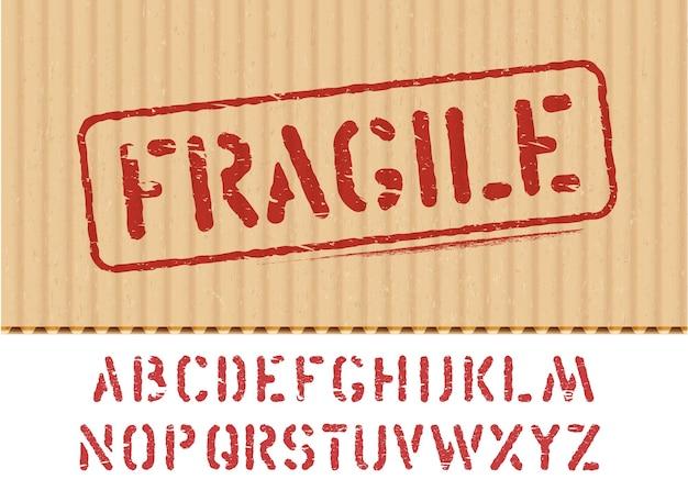 Signo de vector frágil sobre fondo de caja de cartón con textura de carga con fuente para logística o embalaje. significa no aplastar, manipular con cuidado. alfabeto grunge incluido