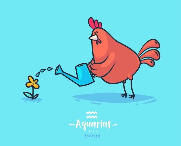 Signo zodiacal acuario. gallo y flor. cartel del fondo de la tarjeta de felicitación del zodiaco.